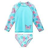 エコテンポ 女の子長袖水着二枚花蝶の発疹ガード子供のための uv 保護水泳の服,S334Cyan,10A