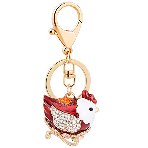 Aibearty Cute Red Chicken Shape Keychain Crystal Fashionable Car Accessories Key Phone Bag Charm Pendant Christmas Gift
