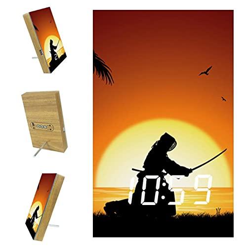 Despertadores LED digitales para dormitorios, cocina, oficina, decoración personalizada del hogar Japón Kendo Silhouette Beach Sunset Coconut Tree 6.2x3.8x0.9 pulgadas