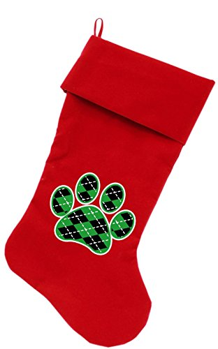 """Mirage Pet Products Argyle Paw Green Screen Print Velvet Christmas Stocking Red, 18"""""""