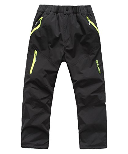 Tofern Bambino Ragazzi/Ragazze Pantaloni con Pile AntiGraffio Antivento Impermeabile per l'escursionismo Alpinismo all'aperto, Nero 130cm