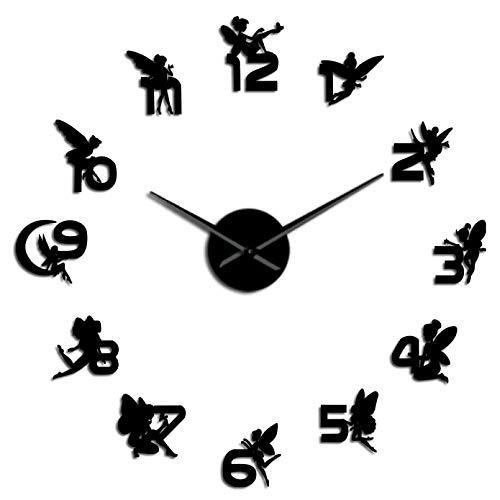 YQMJLF Reloj Pared DIY 3D Grande 3D mágico con números Pegatinas Espejo DIY Reloj Pared Grande guardería niños Pared Arte niña habitación fantasía Reloj silencioso Decor Navidad Regalo Negro