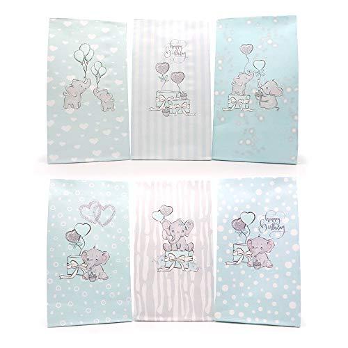 Sinoest Adventskalender zum Befüllen Candy-Bar Tüten Papiertüten Süßigkeiten Tüten für Baby Shower Kindergeburtstag (Elefant Blau)