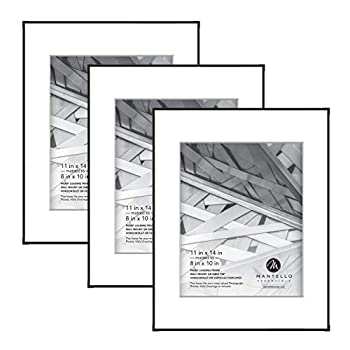 Mantello Front Loading Black Picture Frame - Display 8x10-Inch Photos  Matted  or 11x14-Inch Photos  No Mat  - For Artwork Diploma Certificate Collage - Large Hanging Gallery Wall Frame Set of 3