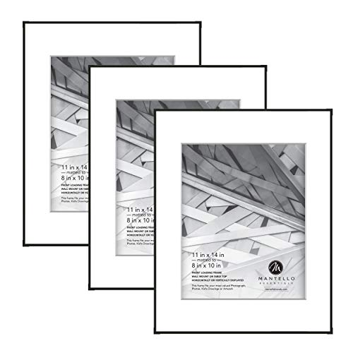 Mantello Front Loading Black Picture Frame - Display 8x10-Inch Photos (Matted) or 11x14-Inch Photos (No Mat) - For Artwork, Diploma, Certificate, Collage - Large Hanging Gallery Wall Frame Set of 3