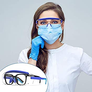 Anti Fog Goggles Fit Over Glasses Safety Glasses with Adjustable Temple Protective Goggles Anti-Splash goggles Scratch proof Sand Proof Protective Shooting Glasses Protective Eyewear Safety Goggle& Glasses blue …