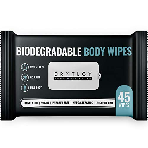 DRMTLGY Body and Face Shower Wipes for Women and Men - 45 Wipes. XTRA Large Biodegradable No Rinse Cleasning Wipes For Camping, Sports, Traveling, and more!