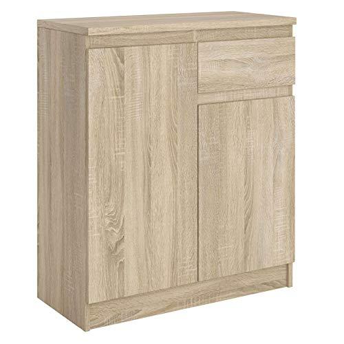 CARO-Möbel Kommode ROSALI Sideboard Highboard grifflosmit 2 Türen, 1 Schublade in Sonoma Eiche