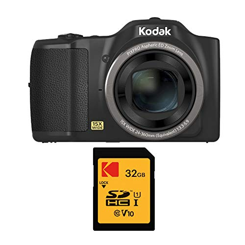 Kodak PIXPRO FZ152 16MP Compact Digital Camera with 15x Optical Zoom with 32GB SD Card Bundle (2 Items)