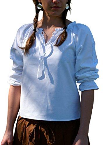 Mittelalterliche Bluse mit Spitze, Weiss aus weicher Baumwolle - Mittelalter - LARP - Wikinger Größe XL