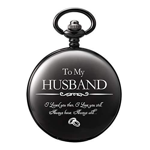 TREEWETO Gravierte Taschenuhr für Männer Ehemann Zu Meinem Ehemann Taschenuhren für Ehemann zum Geburtstag Valentinstag Hochzeit Schwarz