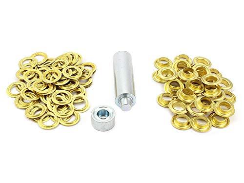 Einschlagstempel Einschlagwerkzeug XXL 20mm + 50 Ösen Messing Ösenwerkzeug