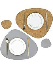 Olrla Kurk- en PU-lederen dubbelzijdige Placemat en onderzetterset, 2 tafelmatten en 2 onderzetters voor thuis restaurant eettafel (grijs/kurk)