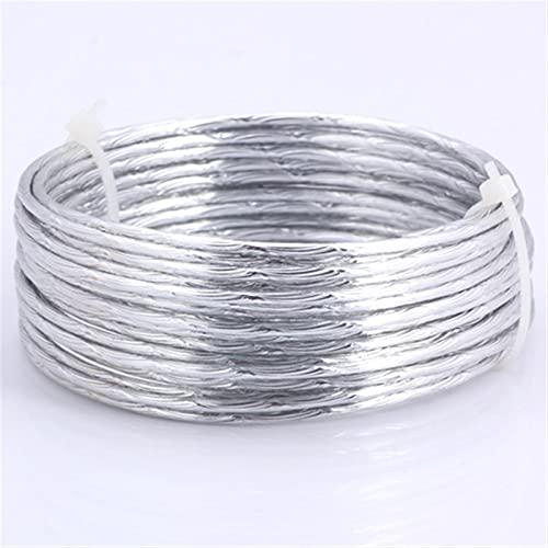 HLH Alambre de aluminio de 2,0 mm, oro y plata, suave, versátil alambre de metal hecho a mano para hacer joyas (color: 2 mm plata D, tamaño: 1 m)