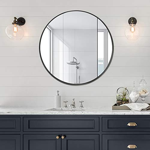 1.2 Inch Stainless Steel Frame Wall Mirror, Bathroom Mirror, Circle Mirror, Round Mirror, Vanity Mirror, Makeup Mirror, 30 Inch, Black