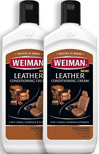 Weiman 3 in 1 Deep Leather Conditioner Cream (2 Pack) - Restores Leather Surfaces - Use on Leather Furniture, Car Seats, Shoes, Bags, Jackets, Saddles
