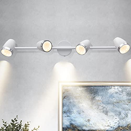 HUOKU Foco de techo con 4 ledes orientados, iluminación de techo con cabezal giratorio, color blanco para salón, cocina, dormitorio