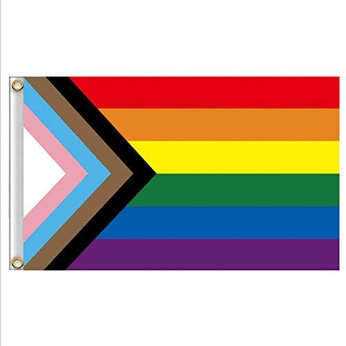 MUROAD Bandiera Arcobaleno, Bandiera del Progress Pride, Support LGBT Gay Pride,Mostrare Il Tuo Orgoglio di Sostegno della comunità LgbtQA ,3x5ft