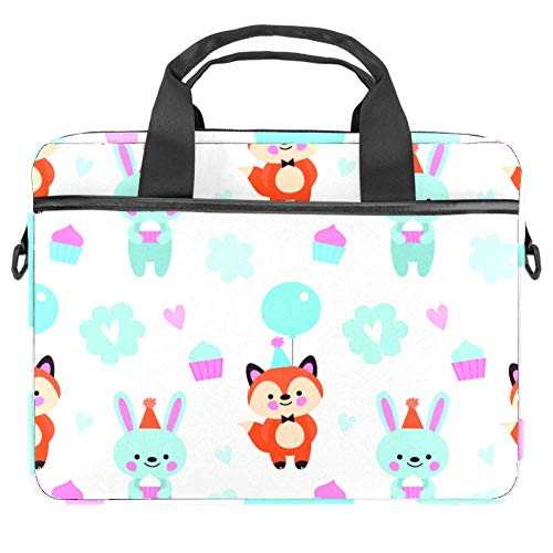 Fox and Bunny Laptop and Tablet Bag up to 14.5 Inch Waterproof Fabric Shoulder Bag MacBook
