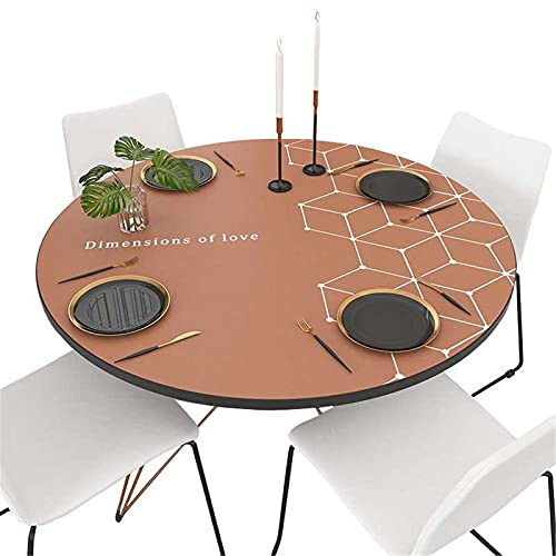 XQKXHZ Mantel Antimanchas, Manteles Mesa Redondo Tela Impermeables, Mantel Hule de Cuero Marrón Modernos, para Decoración de Mesa Comedor Cocina, Personalizable, 4-6 Asientos,135cm