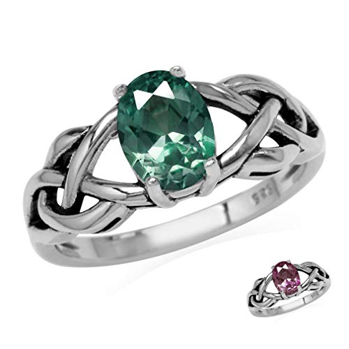 Silvershake 8X6mm Oval Shape Simulated Color Change Alexandrite 925 Sterling Silver Celtic Knot Solitaire Ring Size 7