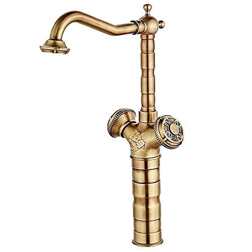 LAN-ZHENS Ssjia baño Grifo de la Creativa, Oro Cepillado Doble Grifo, Europeo Tallada Grifo Giratorio