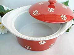 "Material: Stoneware Size: 11 1/2"" x 10"" x 4 1/4"" deep Color: Red White Quantity: 1pcs"