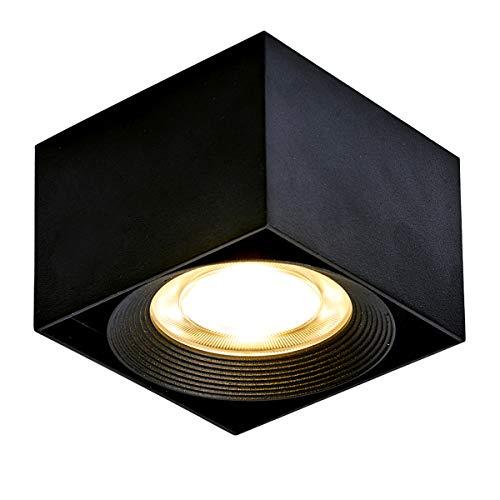Dr.lazy 10W LED Aufbauleuchte Deckenleuchte,Deckenspots, Deckenfluter,Deckenstrahler,DeckenLampe,Deckenbeleuchtung,10x10x7CM (Schwarz-warmweiß)
