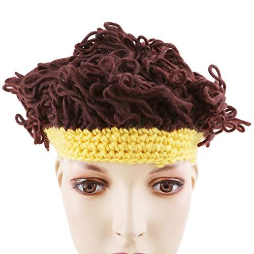 SUNSKYOO Perücke Rollmütze Kinder Wolle gewelltes Haar Rolle Modellierkappe, gelb