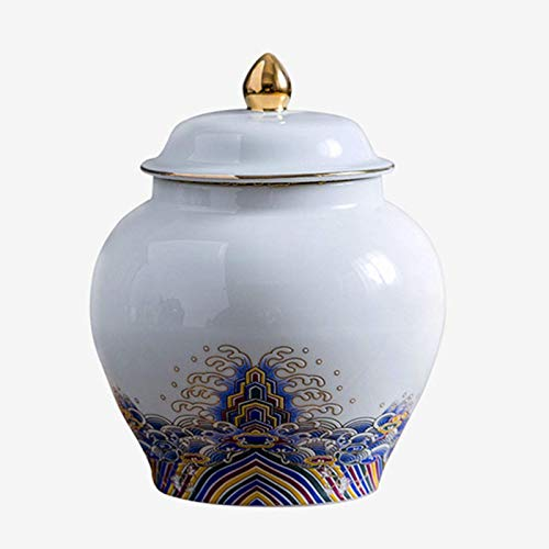 600ML Ceramic Tea Jar Storage Jars Candy Cookies Tins Cans Canister Traditional Tea Caddy Sealed Lids,White