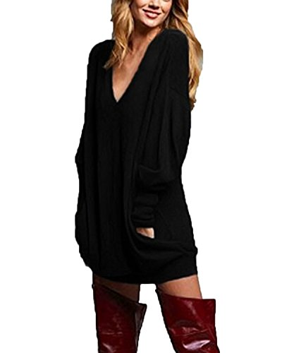 ZANZEA Women V Neck Long Sleeve Loose Baggy Oversized Tops Blouses Pullover Tunic Sweater Dress Plus Size Black 3XL