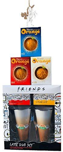 Friends The TV Show Latte Duo Gläser/Tassen & Instant-Kaffeemischung Geschenk-Set mit Terry 's Chocolate Orange Auswahl, 1 x Terrys Milch / Dunkle / Weiße Orangen und Weihnachtsbaumschmuck