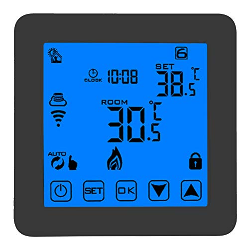 Termostatos Wifi, termostato de calefacción programable WIFI inalámbrico inteligente, controlador de temperatura con pantalla LCD grande digital, fácil de leer/tocar