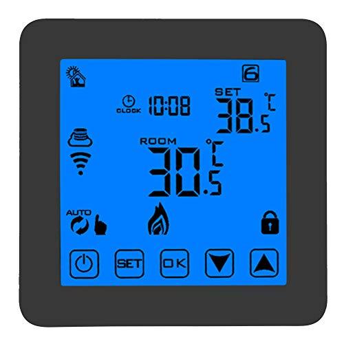 Slimme thermostaat, programmeerbare slimme wifi verwarming thermostaat digitale lcd vlambescherming draadloze temperatuurregelaar voor thermoklep, magneetklep, verwarming enz