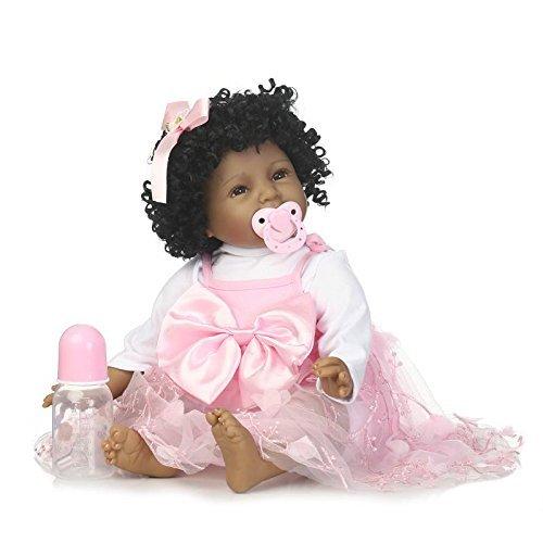 XL68chao Baby Doll con la Bambola dei Capelli Neri rinata Vinile siliconico Soft Body Adorabile Babyecasa realistica Ragazza per Bambini Giocattoli per Bambini