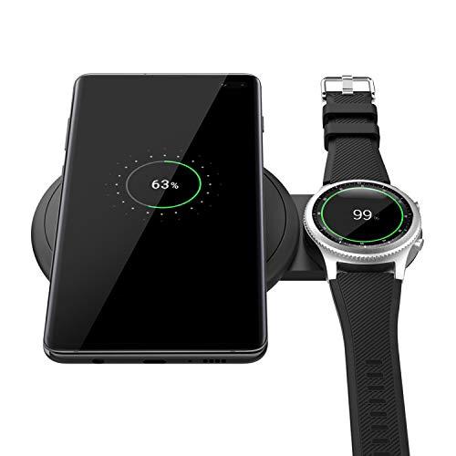 MoKo Qi Cargador Inalámbrico Rápido, Diseño Escalable Soporte de Carga rápida Cargador Duo para Samsung Galaxy Watch Active, Galaxy Buds, Galaxy Watch 42/46mm/Gear S2/S3,S10/S10 Plus/S10e/iphone XS