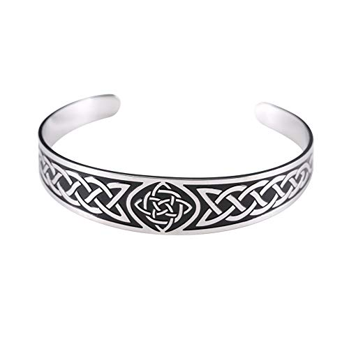 LUSSO Celtic Bracelet Viking Bracelet for Men Magnetic Therapy Cuff Bangle Irish Jewelry for Women Mens Cuff Bracelets Stainless Steel Vintage Symbol Norse Amulet Health Care Jewelry