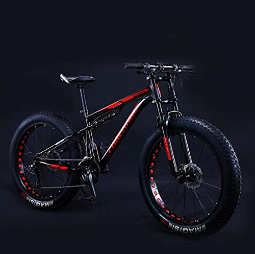 Adult Fat Tire Mountain Bike, Double Disc Brake Cruiser Bicycle, All Terrain Damping Beach Snow Offroad Bikes, 26Inch 4.0 Wide Wheels,A,24 Speed