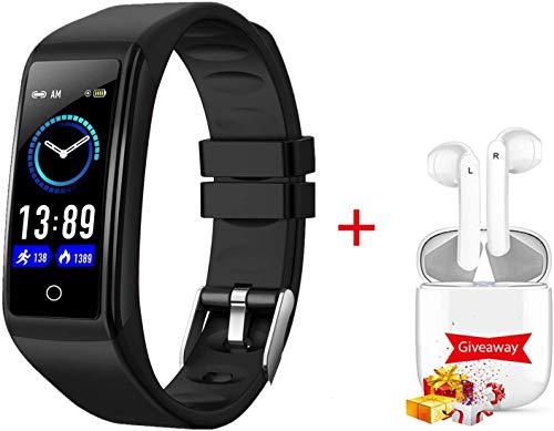 Montre Connectée IP67,Bracelet Connecté Etanche 0.96 Pouces Fitness Tracker Pas Cher,Moniteur de fréquence Cardiaque Montre Intelligente Femmes Homme Smartwatch pour Android iOS (Noir)