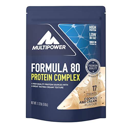 Multipower Formula 80 Protein Complex – Mehrkomponenten Protein Pulver für den Muskelaufbau – Proteinpulver mit Casein für eine langfristige Versorgung – mit cremigem Cookies & Cream Geschmack – 510 g