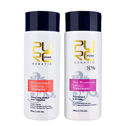 Keratin Hair Blowout Treatment and Purifying Shampoo Kit for Frizz Control, Shine and Straightening - Straightening hair Repair and straighten damage hair products (200ml)