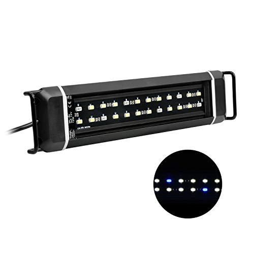 NICREW Luz LED Acuario, Bombilla LED Impermeable para Acuarios de Agua Dulce, LED Blanco y Azul, Lámpara LED para Acuarios 28-43 cm, 8 W