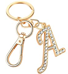 Package Included:1 x Initial letter pendant bag charm Total length 4 inches,Letter size 2.0x0.6 inches Material: Gold plated alloy handbag accessories with crystal rhinestone Show off your unique style with our AlphaAcc new trendy purse charm keychai...
