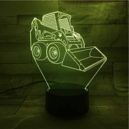 LED Nachtlicht 3D-Vision-Sieben Farben-Fernbedienung-Nachtlicht Bulldozer Dekoration Illusion Verfärbung Kinder Kinder Baby Nachtlicht Geschenk Schreibtischlampe SchlafzimmerWiegenlied Nachtlicht