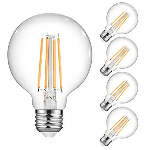 Ascher Vintage G25 LED Globe Light Bulbs, 60 Watt Equivalent, Warm White 2700K, 750LM, Non-Dimmable, G25 Glass Edison Style for Bathroom Makeup Mirror, Medium E26 Base, Pack of 4