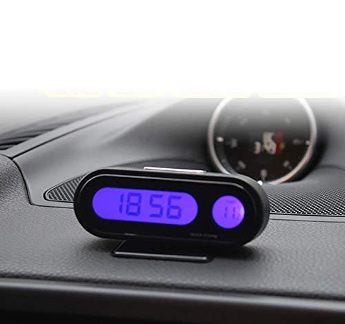 IQQI Auto-Temperatur-Taktgeber, Universal Auto Armaturenbrett-Digital-Uhren Mit Schwarzlicht Und LCD-Schirm-Träger Temperaturanzeige
