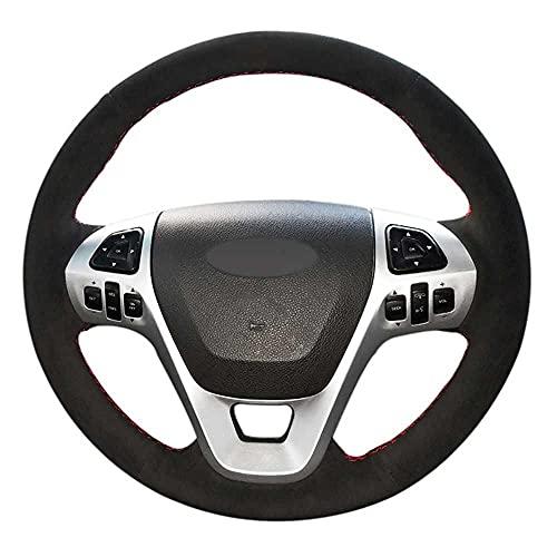 NASHDZ Cubierta de Volante Cosida a Mano para Coche, Apta para Ford Explorer 2011-2019 Taurus 2013-2019 Edge 2011-2014 Flex 2013