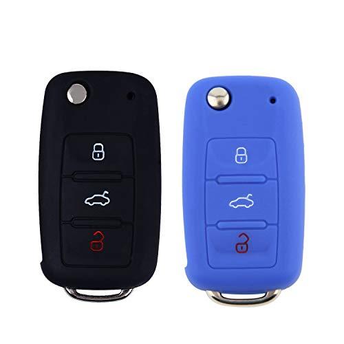 E-Mandala 2 Stück VW Schlüssel Hülle 3-Tasten Silikon Tasche Etui Schutzhülle für Volkswagen VW Golf 7 6 5 4 Caddy Lupo Polo Passat SkodaFabia Bora Autoschlüssel Schlüssel Zubehör - Schwarz Blau