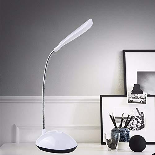 Mini LED Schreibtischlampe Flexibler Schlauch flackerfrei Augenschutz Akku Tischleuchte - Weiß