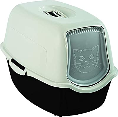 Rotho, Bailey, Litter box with hood and flap, Plastic (PP) BPA black and white, 56,0 x 40,0 x 39,0 cm